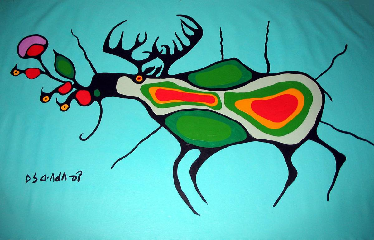 Norval Morrisseau, Untitled [Moose with Birds], c 1975. Gift of the Estate of Faye Settler, Upstairs Gallery, Winnipeg, Manitoba, 2005
