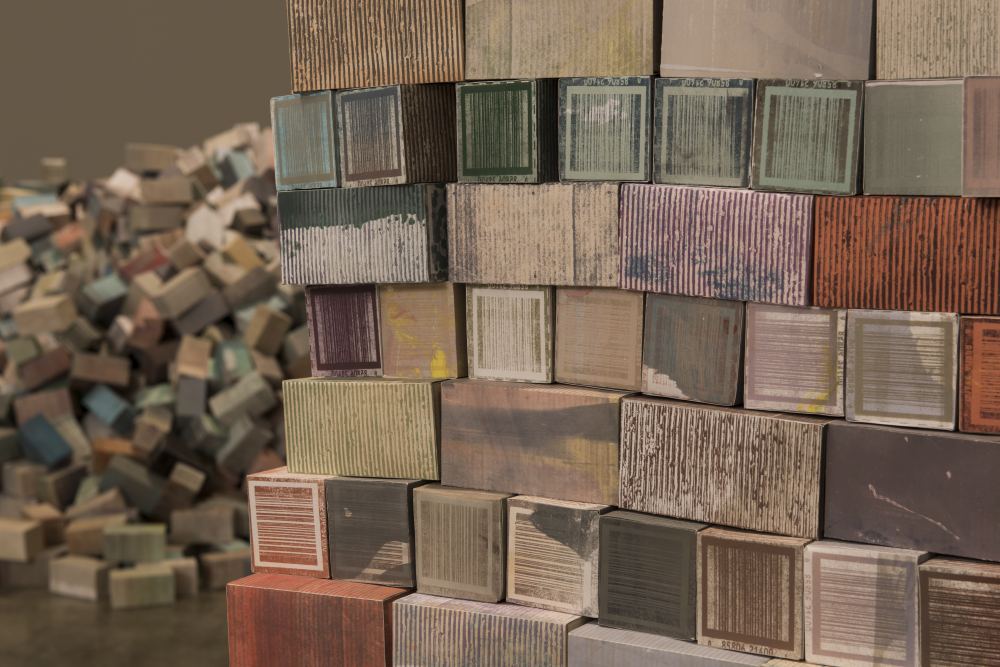 """Mitch Mitchell, """"Berth"""", 2013-2016, 35,000 Handmade Boxes (Ink, Paper, Glue, Labour, Wood), dimensions variable. Photo: Steve Farmer"""