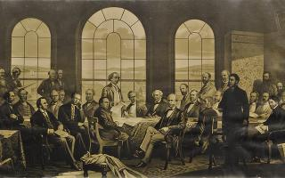 unknown after James Ashfield photo, after Robert Harris, The Fathers of Confederation, c.1885, tint stone lithograph, 45.9 x 83.5 cm. Gift of John and Norma Oyler, 2014.82