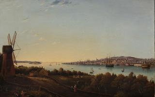 [Robert D. Wilkie ?] Wilkinson, <em>View of Halifax, Nova Scotia, from Dartmouth</em>, c 1850s, Oil on canvas, 36.8 x 56.4 cm. Art Gallery of Nova Scotia, purchase made possible by funds provided by John Risley, 2015, 2015.91